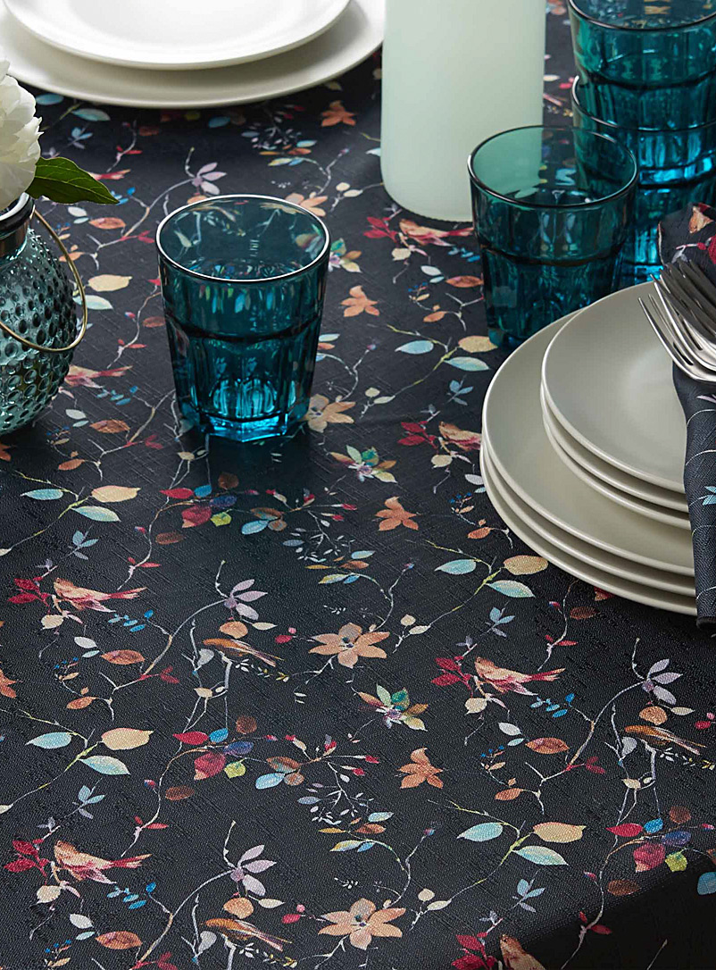 Night birds tablecloth - Printed - Patterned Black