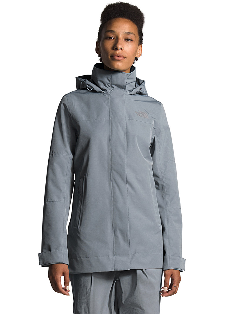 The North Face Grey Westoak City minimalist trench coat for women