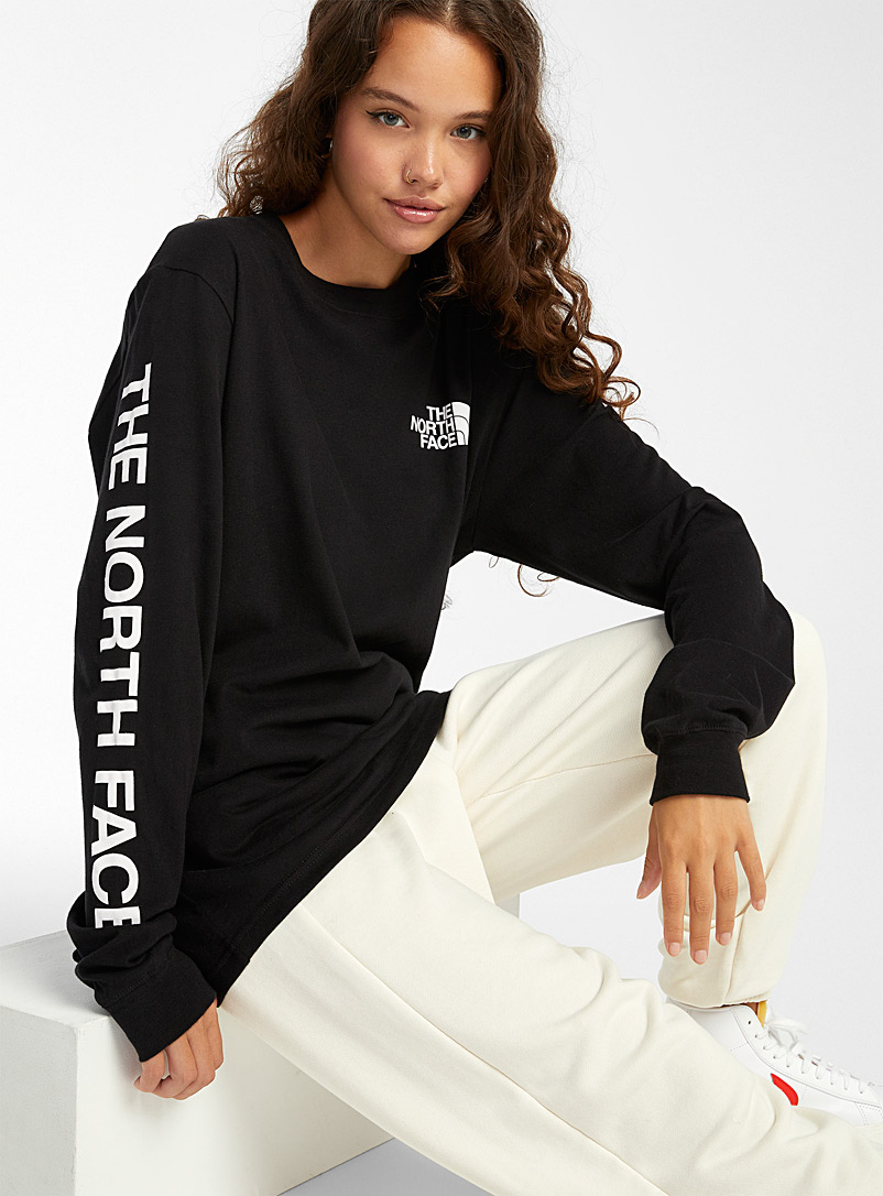 The North Face Black Long sleeve logo T-shirt for women