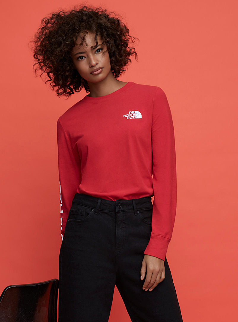 The North Face Red Long sleeve logos T-shirt for women