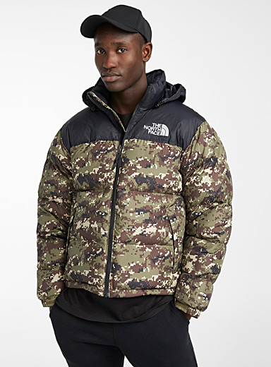 The North Face Patterned Green Nuptse retro puffer jacket for men