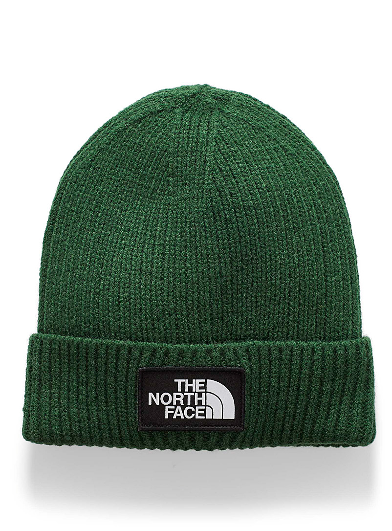 The North Face Green Logo emblem cuffed tuque for men