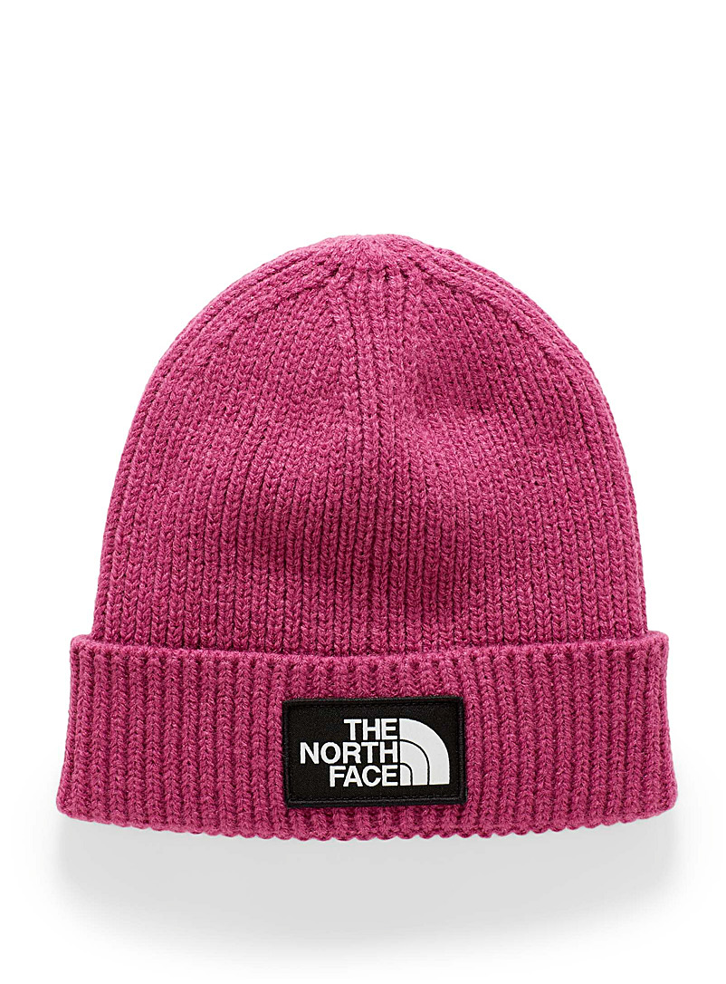 The North Face: La tuque à revers écusson logo Mauve pour homme