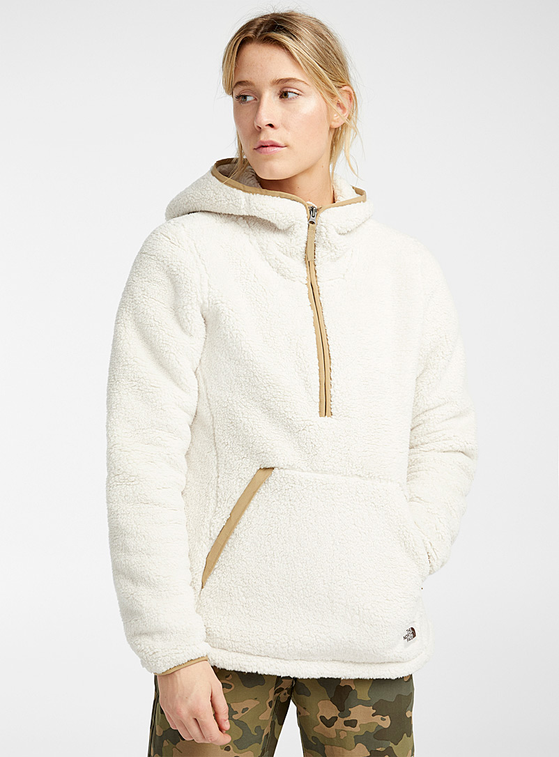 The North Face Ecru/Linen Retro sherpa hoodie for women