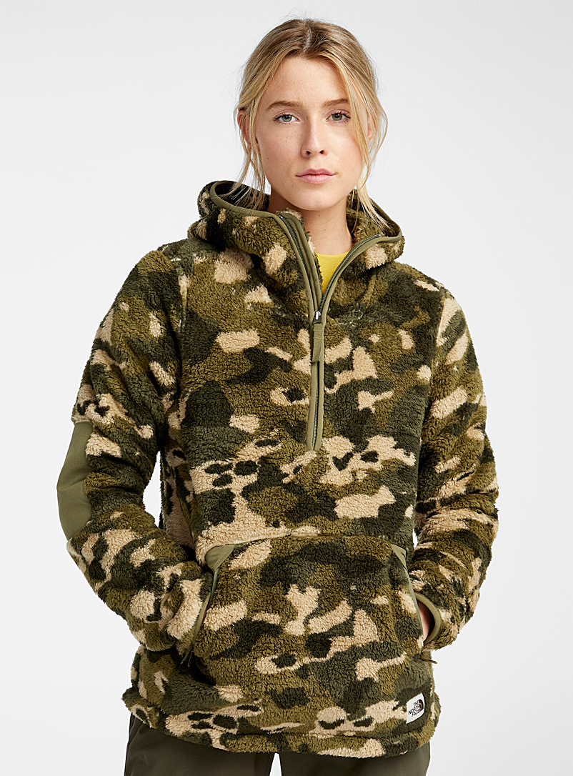 The North Face Patterned Green Retro sherpa hoodie for women