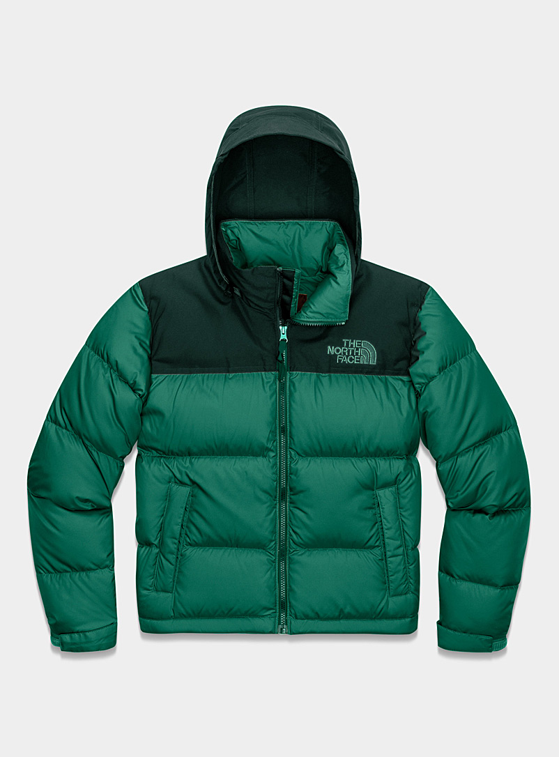 The North Face Green Nuptse eco-friendly down puffer jacket for women