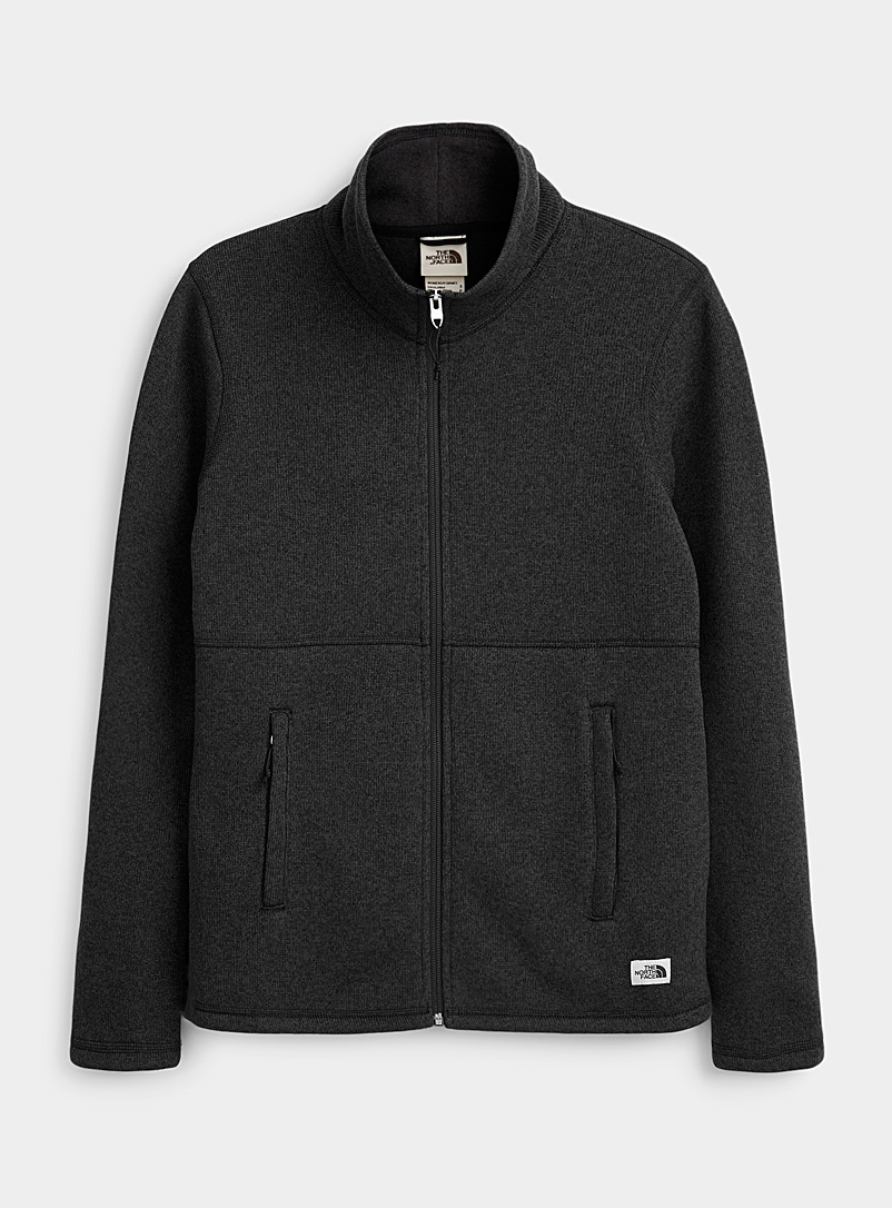 Crescent heathered knit and fleece jacket