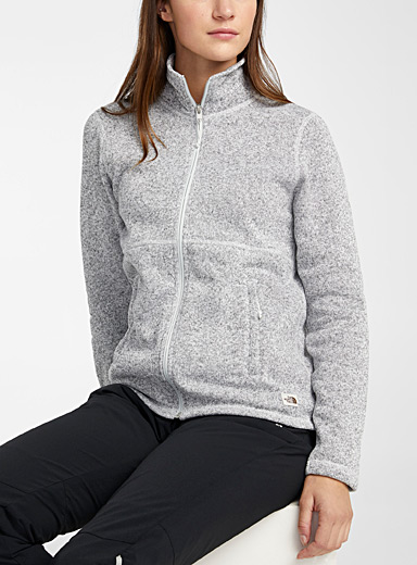 The North Face Light Grey Crescent heathered knit and fleece jacket for women