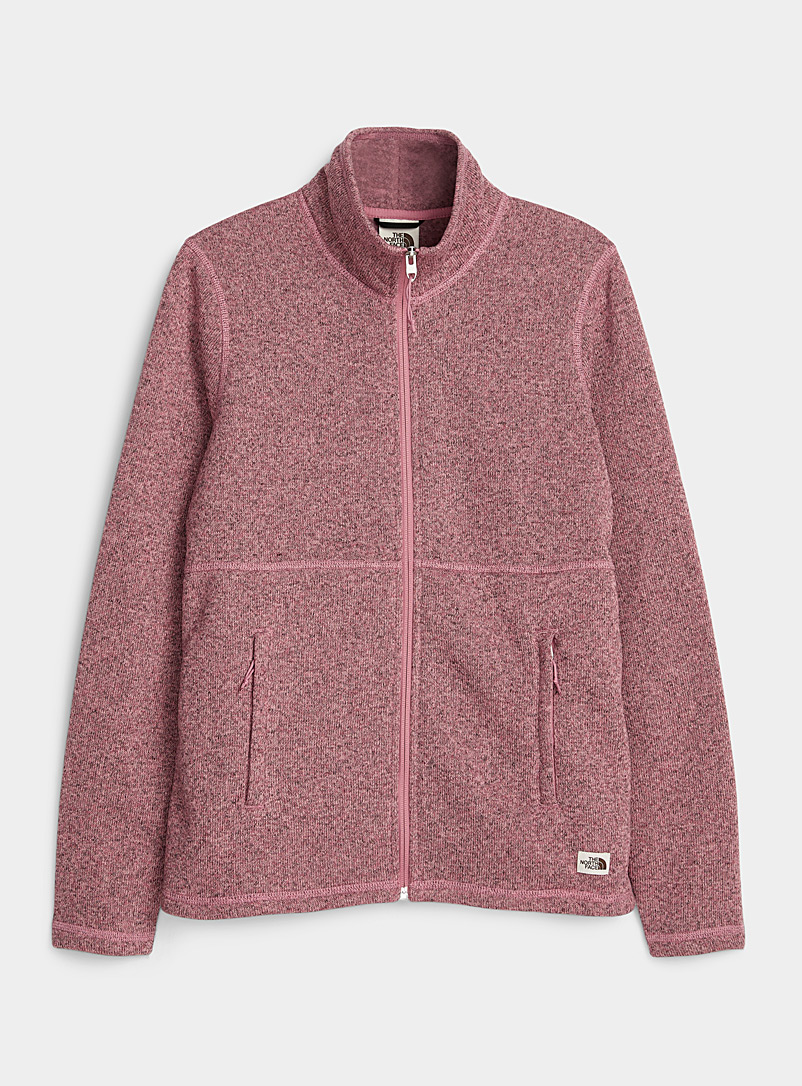 The North Face: La veste tricot chiné et molleton Crescent Vieux rose pour femme
