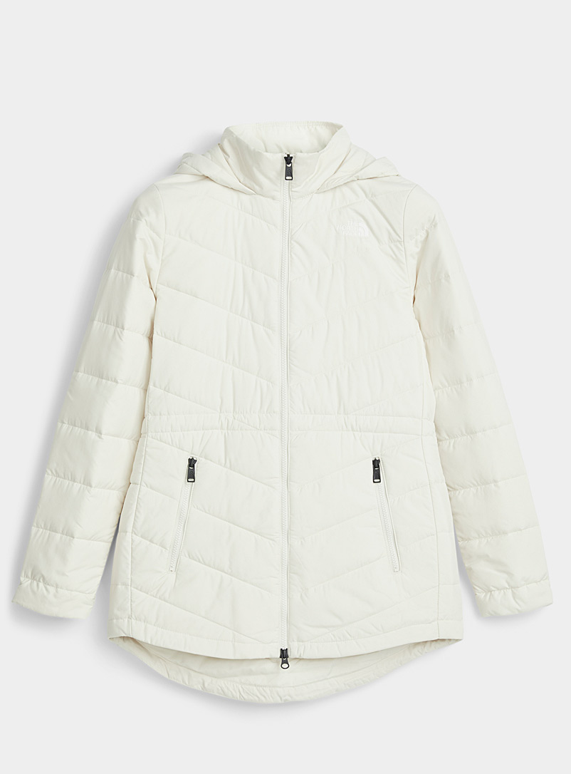 The North Face Ivory White Tamburello quilted parka  Fitted style for women