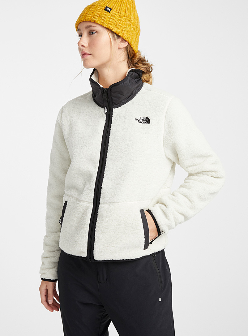 The North Face Ivory White Cropped utility fleece jacket for women