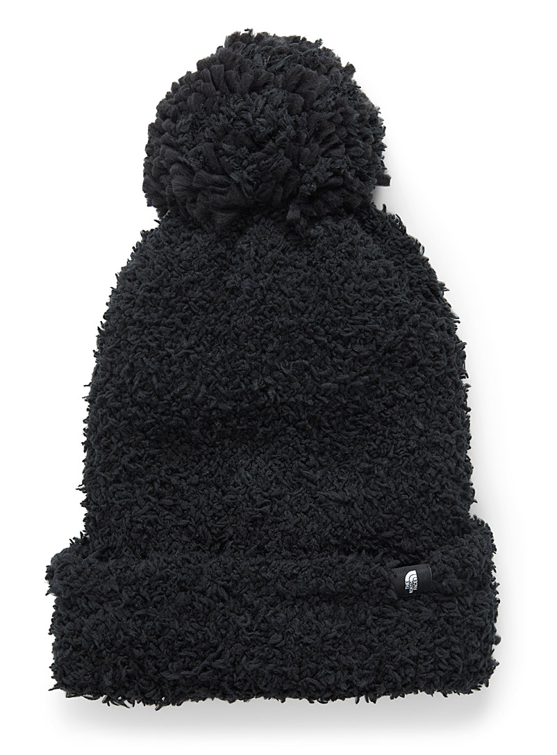 The North Face Black Plush pompom tuque for women