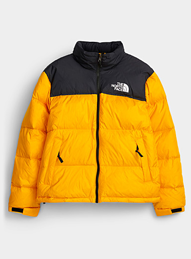 The North Face Medium Yellow Nuptse retro puffer jacket for men