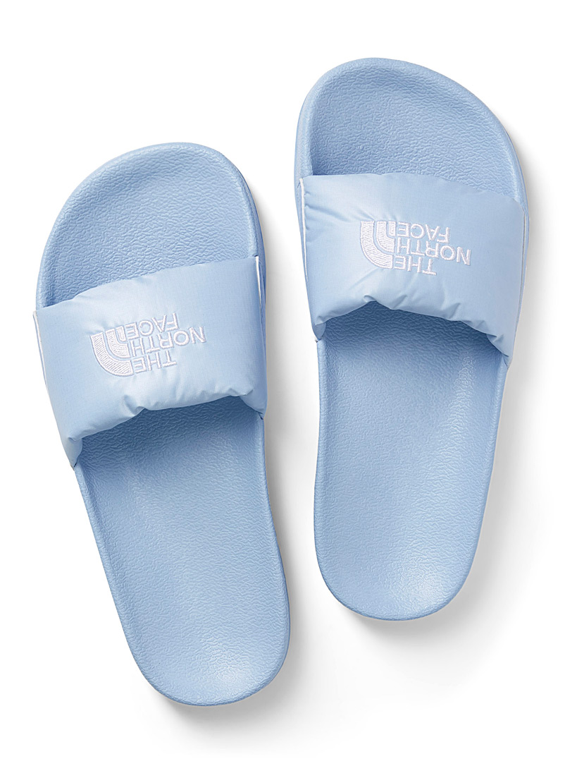 The North Face Baby Blue Nuptse slides  Women for women