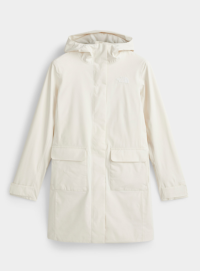 The North Face Ivory White City Breeze Rain II patch pocket urban raincoat Long fit for women