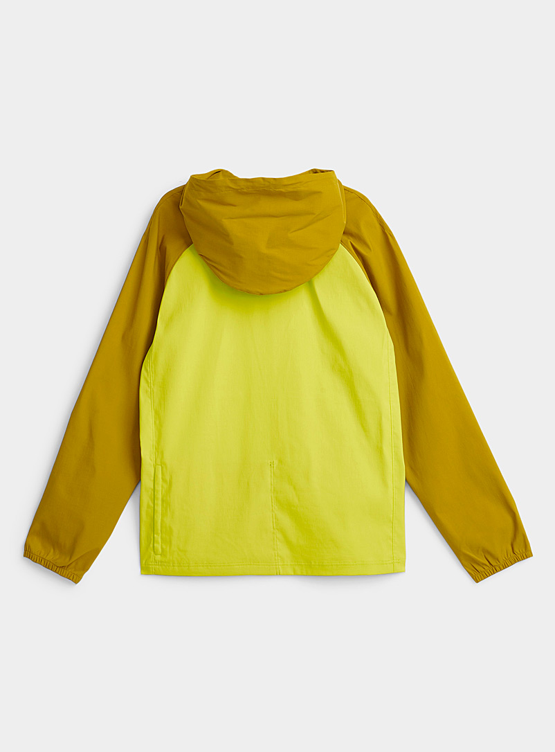 The North Face Lime Green Block-style Class V windbreaker anorak for men