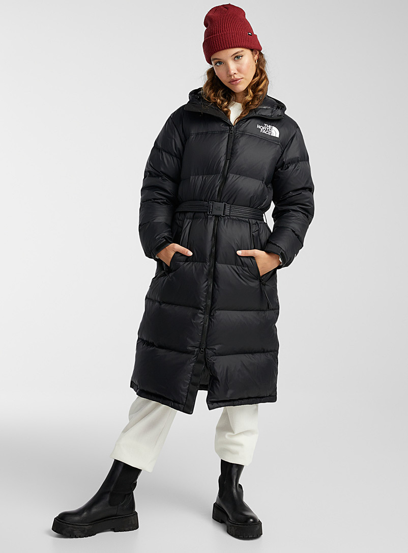 The North Face Black Nuptse belted long puffer jacket for women