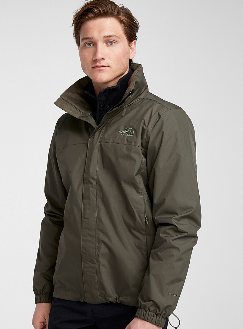 The North Face: Le blouson imperméable Resolve 2 uni Kaki chartreuse pour homme
