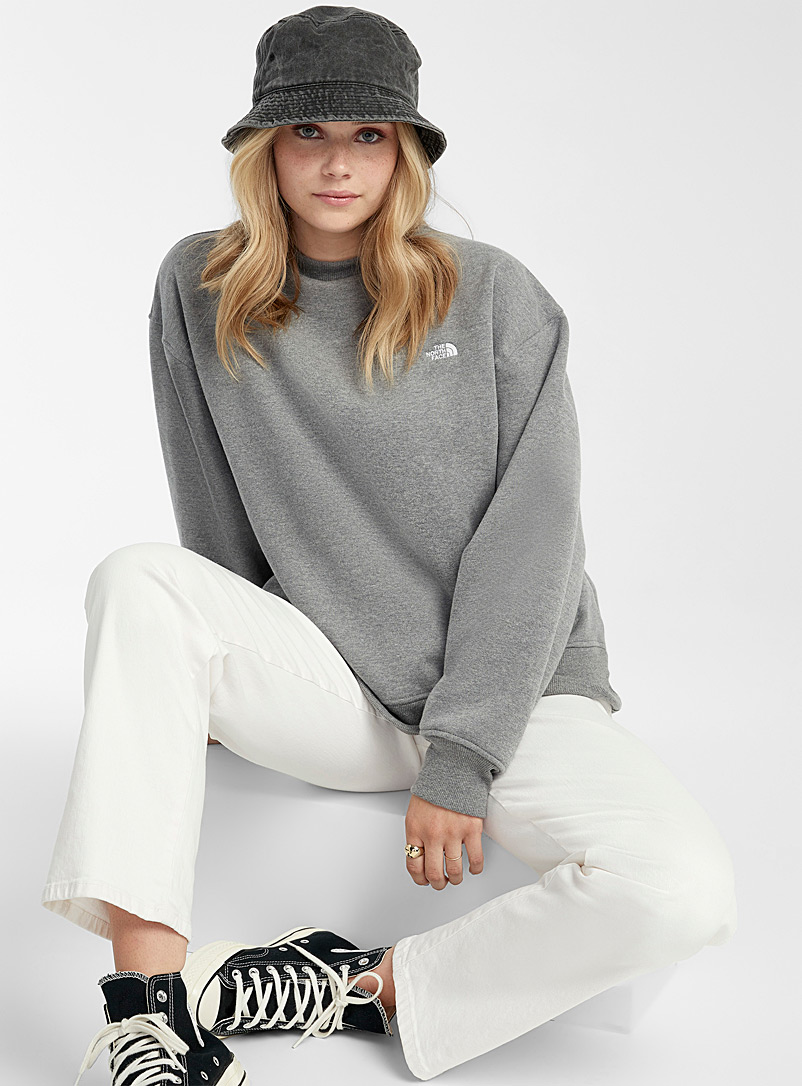 The North Face Grey Embroidered mini logo loose sweatshirt for women