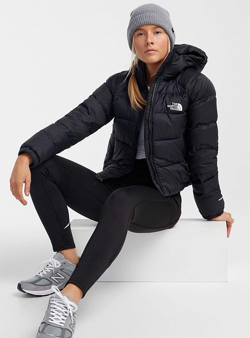The North Face Black Hydrenalite cropped hooded puffer jacket for women