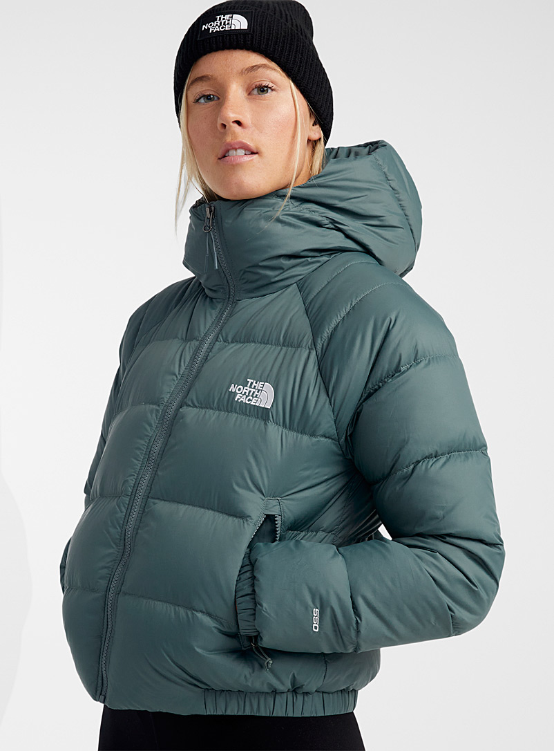 The North Face Mossy Green Hydrenalite cropped hooded puffer jacket for women