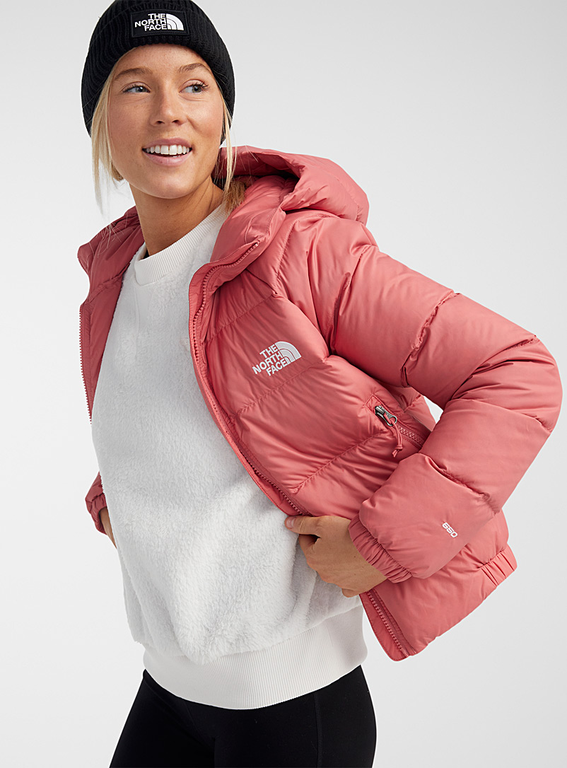 The North Face Pink Hydrenalite cropped hooded puffer jacket for women