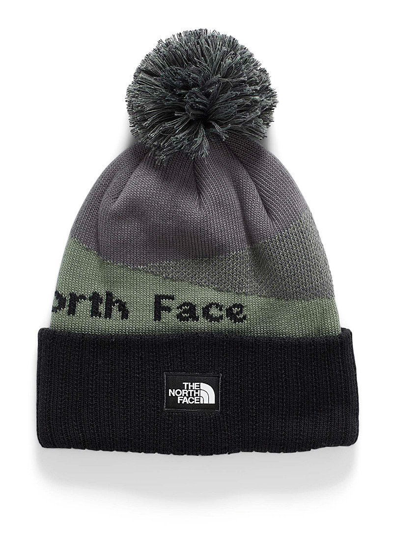 The North Face Charcoal Alpine embossed pompom tuque for women