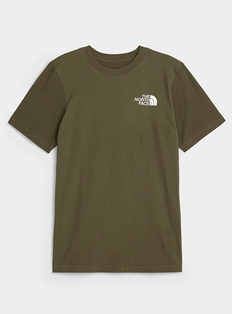 The North Face: Le t-shirt Red Box Vert foncé-mousse-olive pour homme