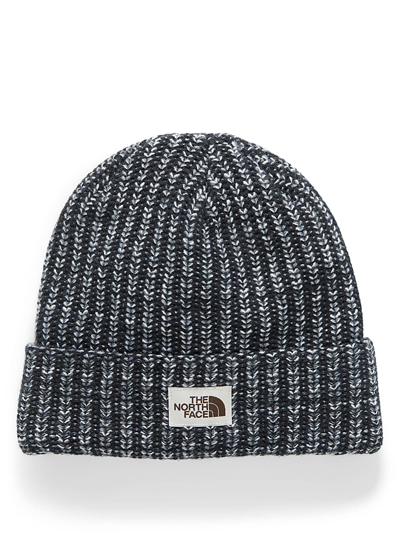 The North Face Patterned Black Heathered cuff tuque for women