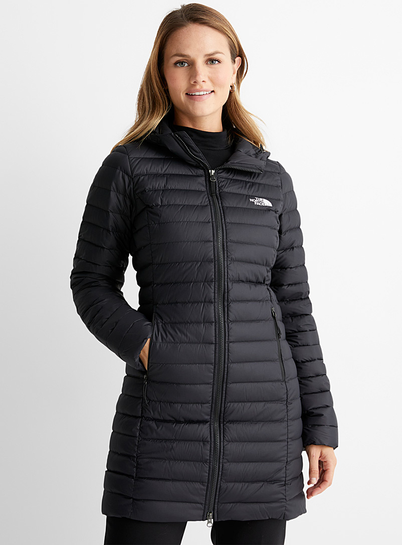 The North Face Black Stretch Down 3/4 puffer jacket for women