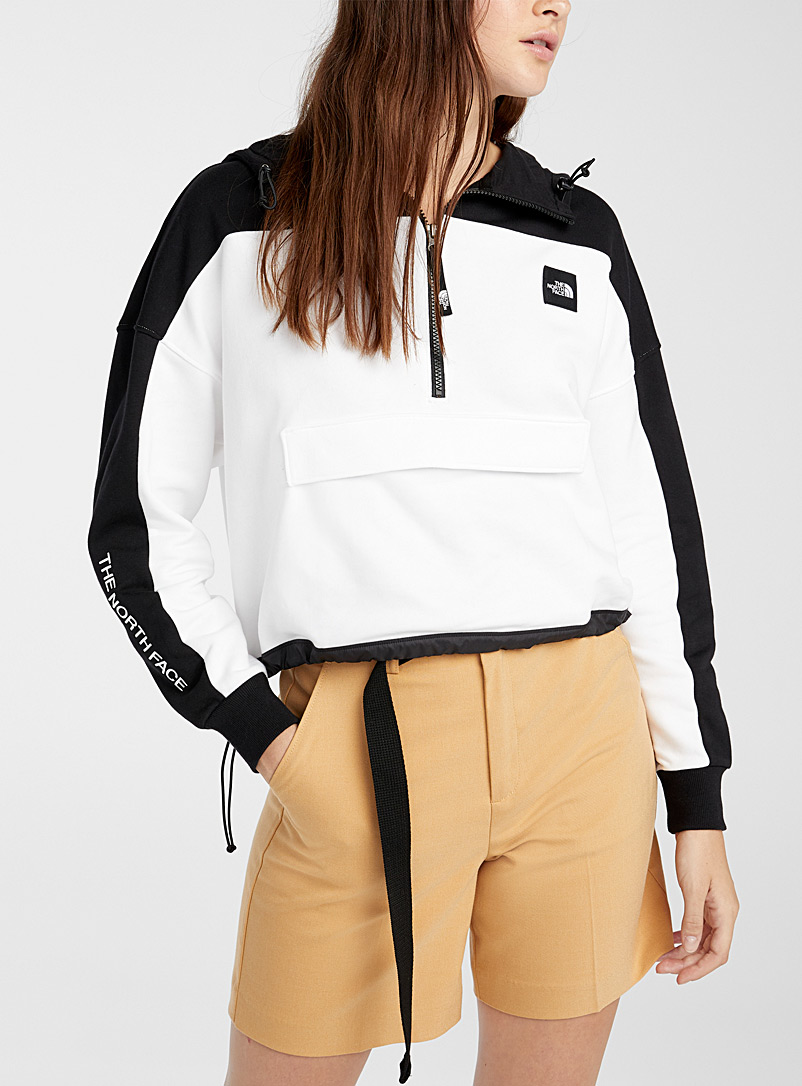 The North Face Black and White Two-tone half-zip anorak sweatshirt for women