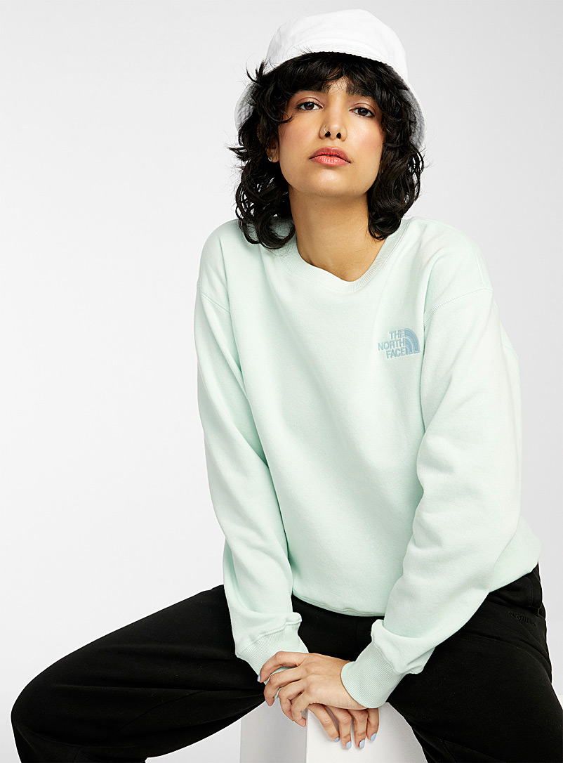 The North Face Lime Green Sky blue logo sweatshirt for women