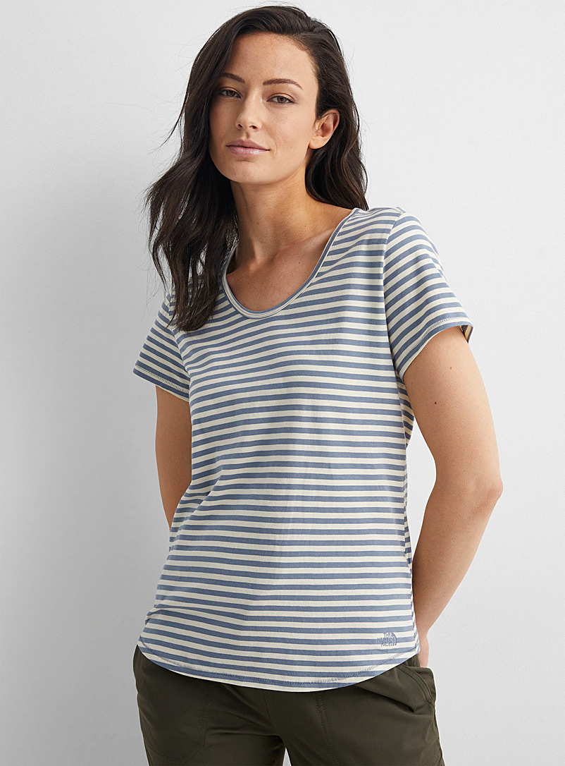 The North Face Patterned Grey Scoop-neck striped tee for women