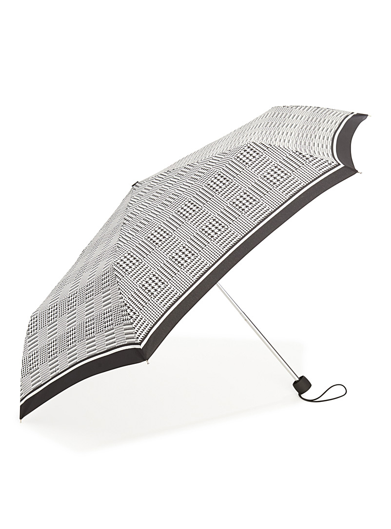Simons Patterned Grey Black and white umbrella for women