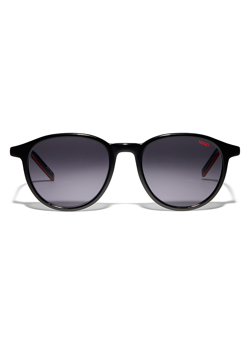 HUGO Black Two-tone round sunglasses for men