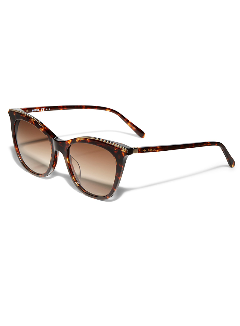 Fossil Light Brown Butterfly and cat-eye sunglasses for women
