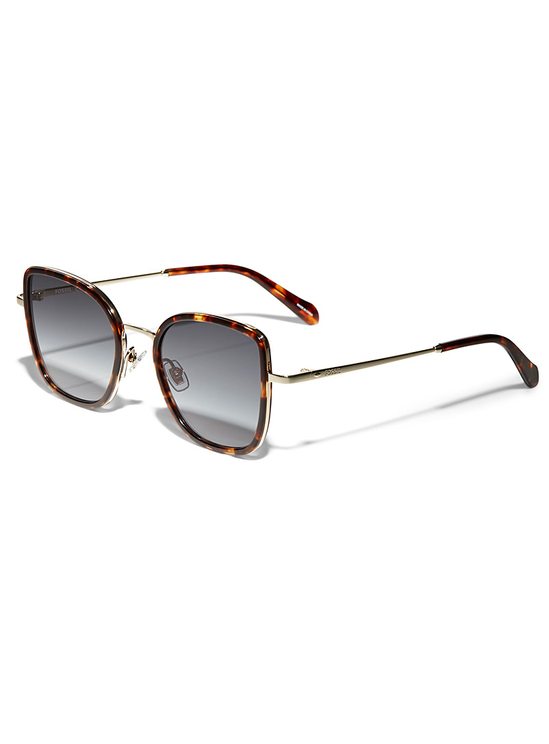 Fossil Light Brown Retro charm square sunglasses for women
