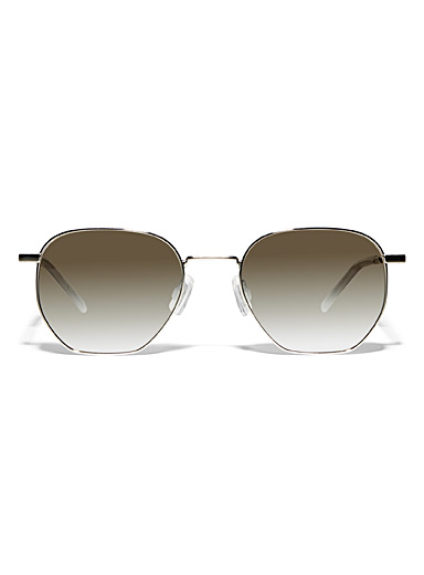 HUGO Silver Rounded square mirror sunglasses for men