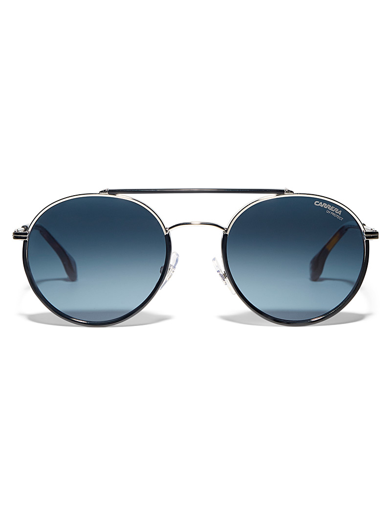Carrera Black Double-bridge aviator sunglasses for men
