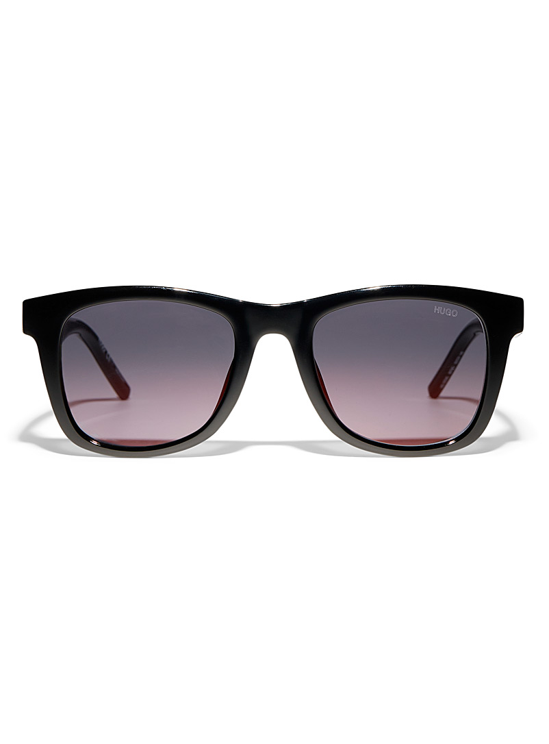 HUGO Black Partial-logo square sunglasses for men