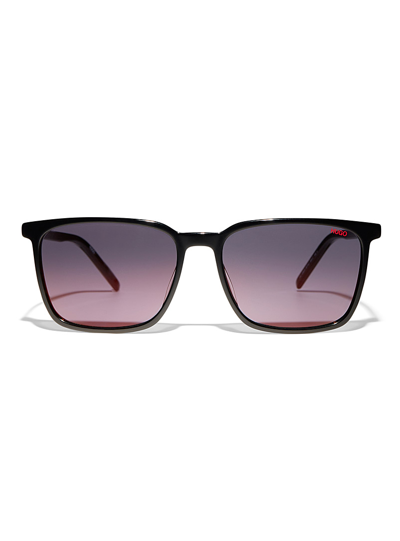 HUGO Black Ultra-light square sunglasses for men