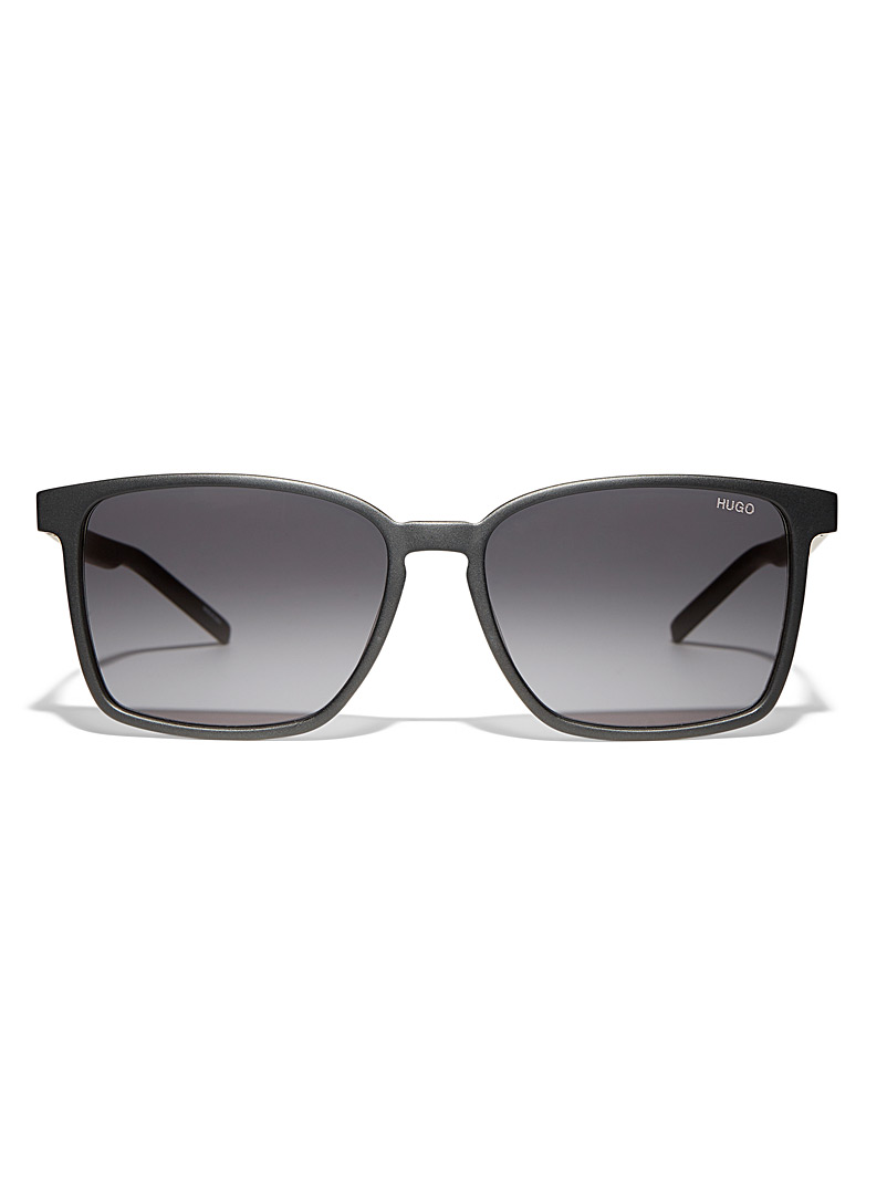 HUGO Black Ultra-light rectangular sunglasses for men
