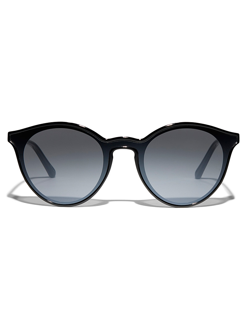 Fossil Black Minimalist round sunglasses for women