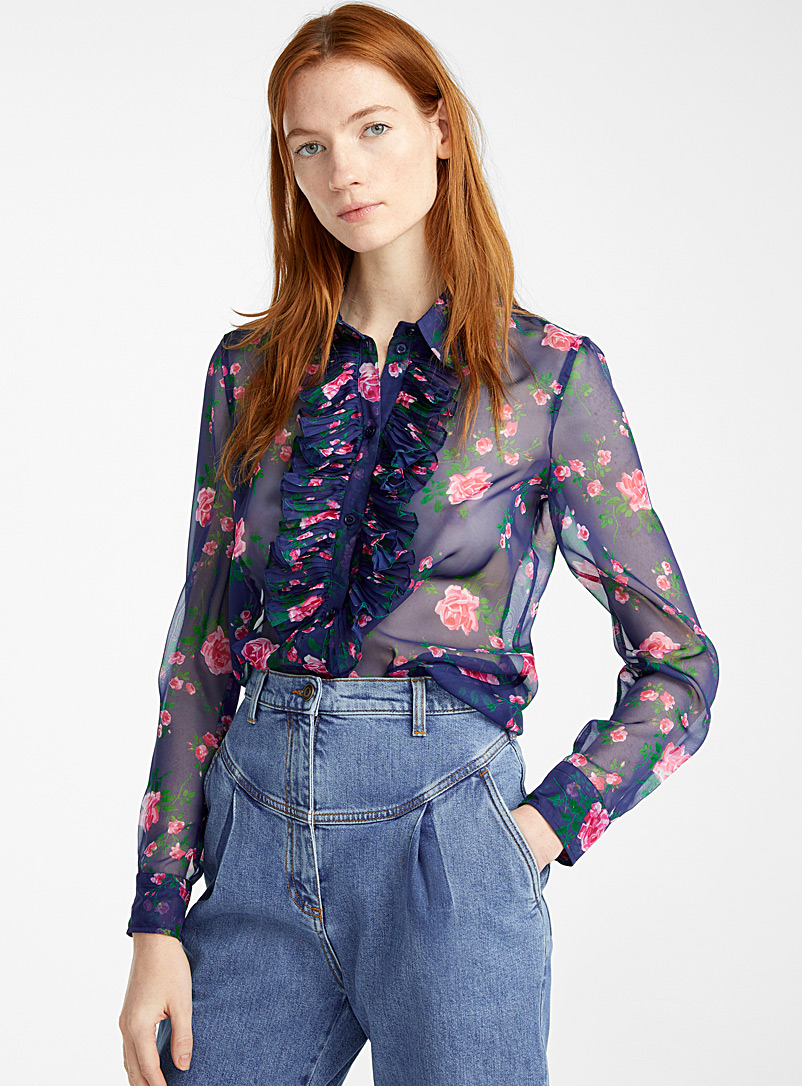 Philosophy Marine Blue Rose Garden blouse for women
