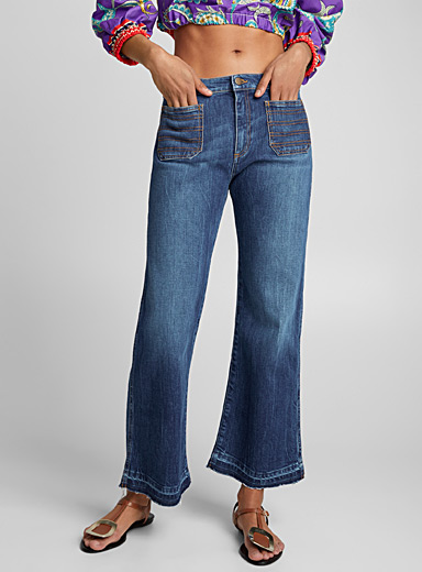 Floral patch flared jean
