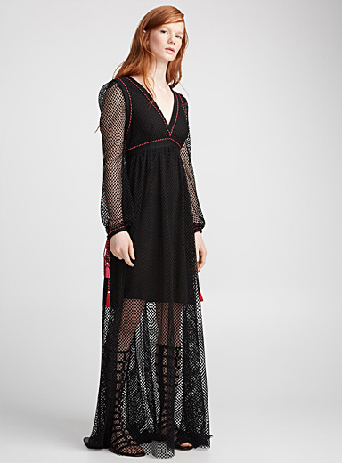 Twisted-trim mesh dress