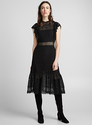 Ruched macramé dress