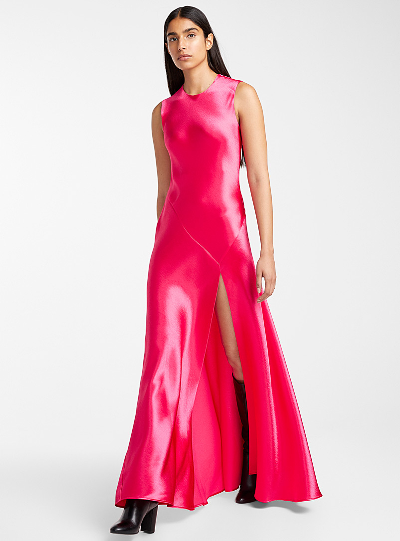 fuchsia-satin-dress