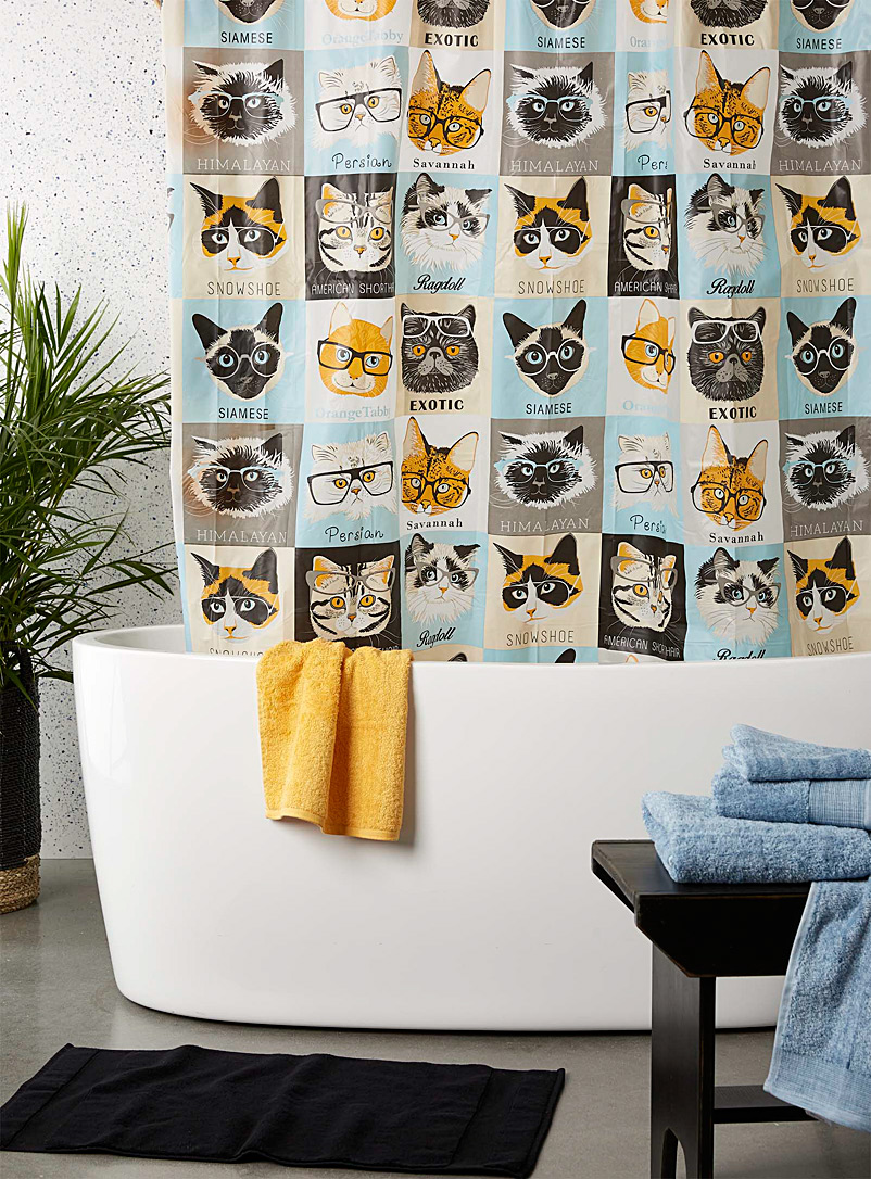 Simons Maison Assorted Intellectual cats PEVA shower curtain