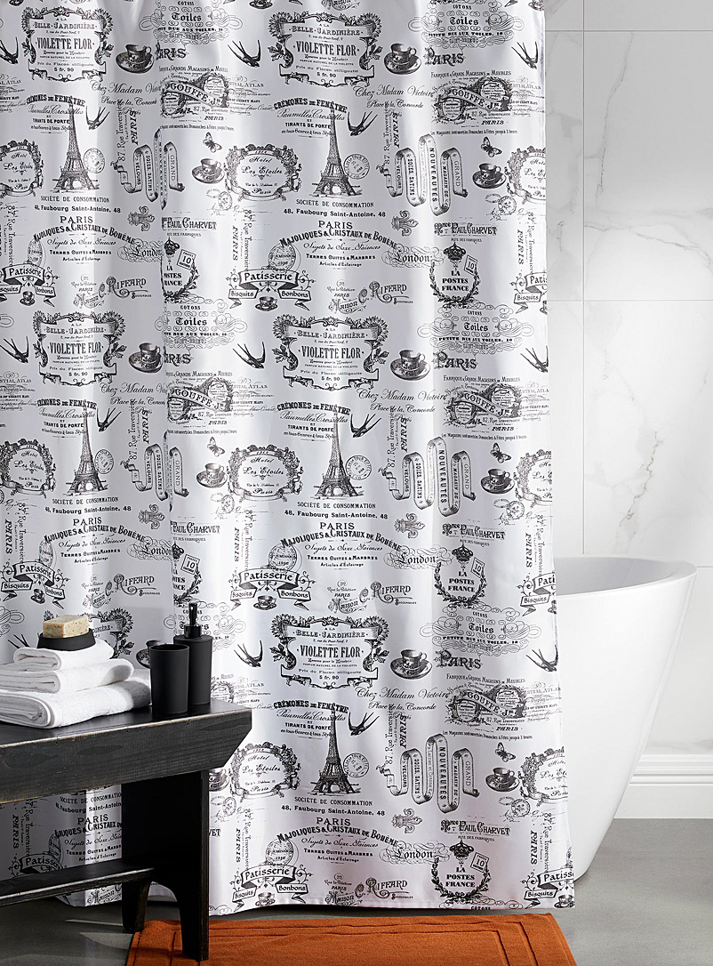 Iconography of Paris shower curtain